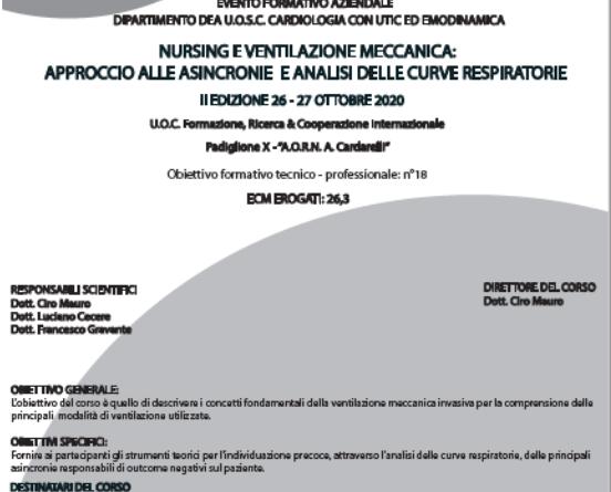 Cardarelli, corso Res – Nursing e ventilazione meccanica: approccio alle asincronie e analisi delle curve respiratorie – iscrizioni aperte -