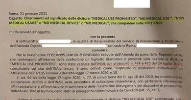 """Regione Lazio: Segnalazione mascherine """"Non medical usage"""",  No medical device"""" – Diversi da (PPE) Personal Protective Equipment"""