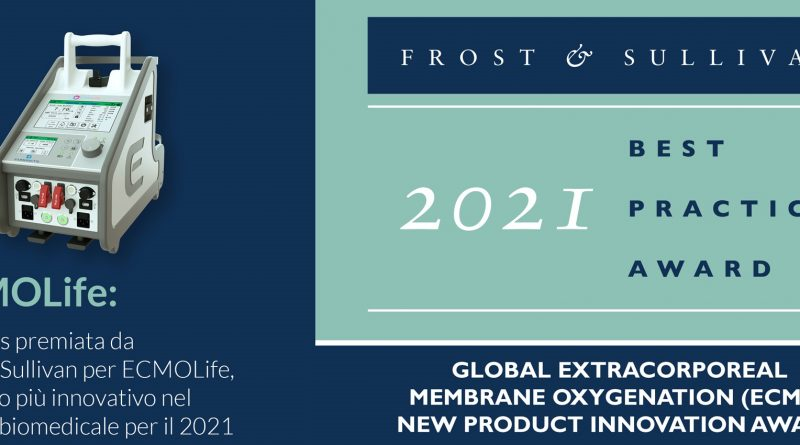 Eurosets premiata da Frost & Sullivan per ECMOLife, prodotto più innovativo nel settore biomedicale per il 2021