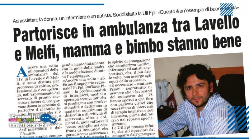 Partorisce in ambulanza tra Lavello e Melfi, mamma e bimbo stanno bene
