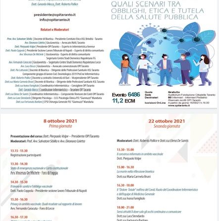 """Convegno Opi Taranto: """"Dichiarazione stato di emergenza nazionale in sanità: quali scenari tra obblighi, etica e tutela della salute pubblica"""""""